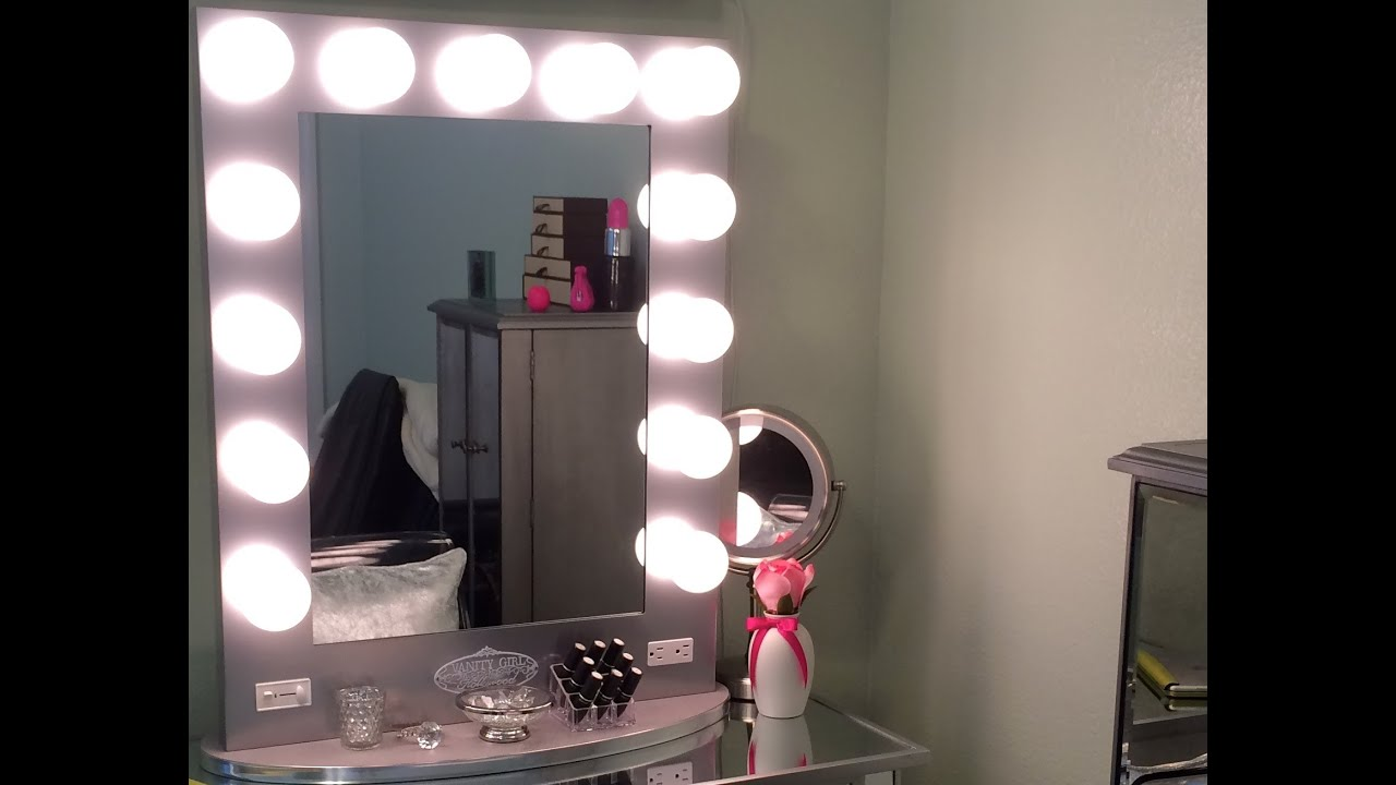 Vanity Girl Hollywood Mirror u0026 Mirrored Vanity Table - YouTube