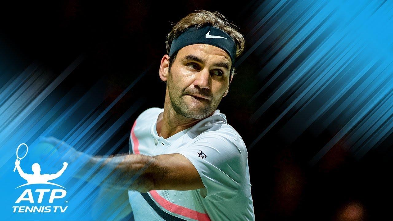 FUNNY: Roger Federer calling own serve out!   Rotterdam 2018 Quarter-Final
