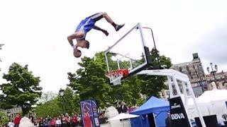 Backflip Off The Backboard Dunk! | Lords of Gravity At NBA 3X