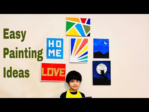 easy-painting-ideas-for-kids-on-canvas---tape-and-stencil-paintings