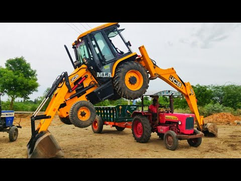 Download JCP and Tractor Videos | JCB stunt with Swaraj 744 FE stuck fully loaded trolley pulling | CFV