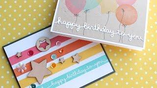 Masking & DIY Stencil Birthday Cards - Make a Card Monday #272