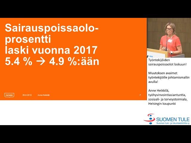 8.  Työntekijöiden sairauspoissaolot laskuun!  Anne Heikkilä, Helsingin kaupunki