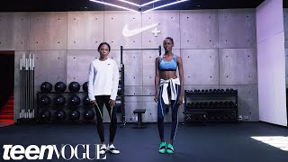 Olympic Gold Medalist Allyson Felix Teaches Some Moves to Model Kai Newman
