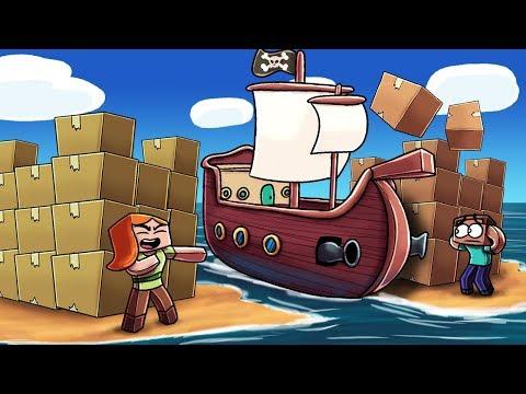Minecraft | PIRATE BOX FORT CHALLENGE - Pirate Ship Siege! (Island Box Fort)