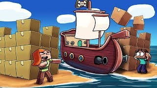 Minecraft   PIRATE BOX FORT CHALLENGE - Pirate Ship Siege! (Island Box Fort)