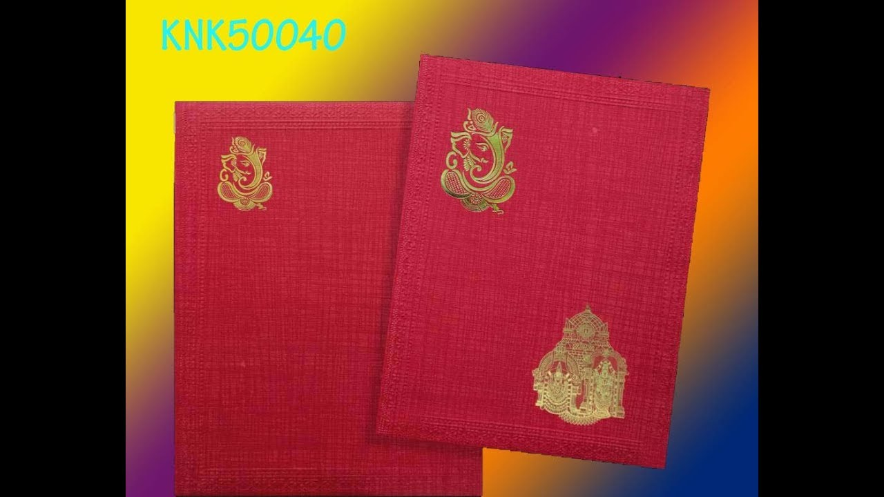Classic Red Color Ganesha Wedding Invitation Card - KNK50040 - YouTube