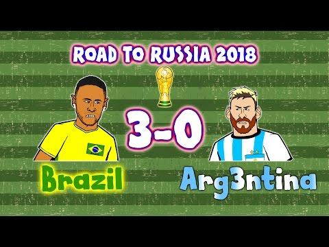Brazil 3-0 Argentina - Cartoon! (World Cup Qualifier 2016 Highlights And Goals Russia 18)