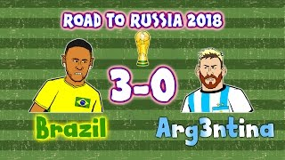 Brazil 3-0 Argentina - cartoon! (World Cup Qualifier 2016 Highlights and Goals Russia 18)
