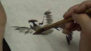 Sparrows by Han Jia-Xi in Chinese brush painting technique