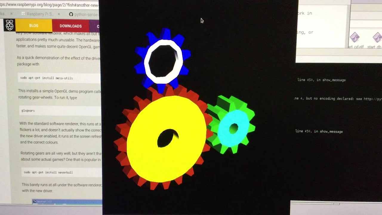 glxgears on Raspberry Pi 2 (NO hardware acceleration) - YouTube