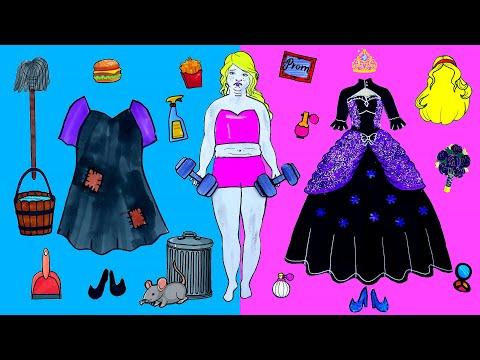 Paper Dolls Dress Up - Fat Vampire Prom Costumes Dresses Handmade Quiet Book - Barbie Story & Crafts
