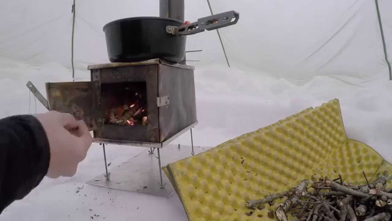 & Hot Tent BushCraft wood stove Winter overnight survival - YouTube