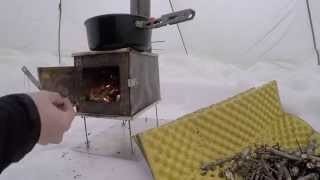 Hot Tent BushCraft wood stove Winter overnight survival
