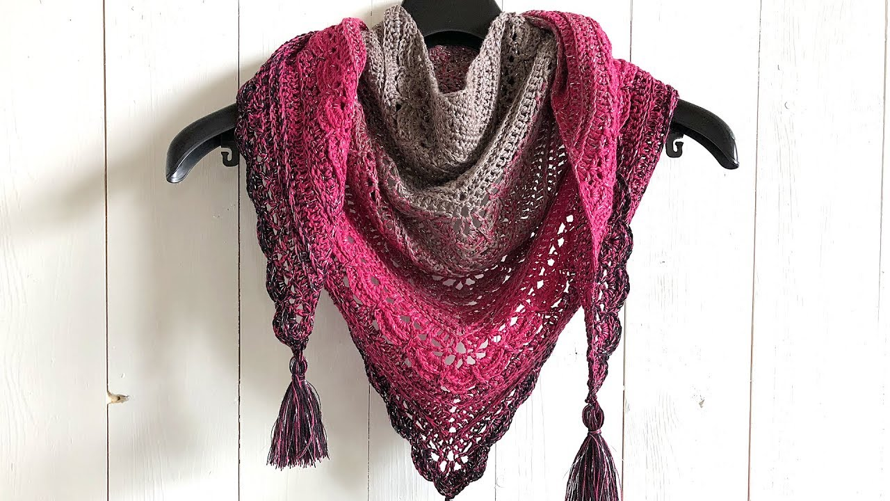 Ana Lucia Shawl Free Triangle Shawl Crochet Pattern Youtube