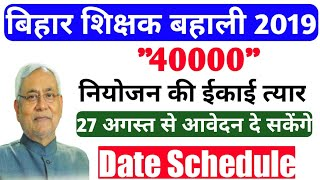 bihar teacher vacancy 2019[bihar teacher niyojan latest news][Date schedule][Process] Notification