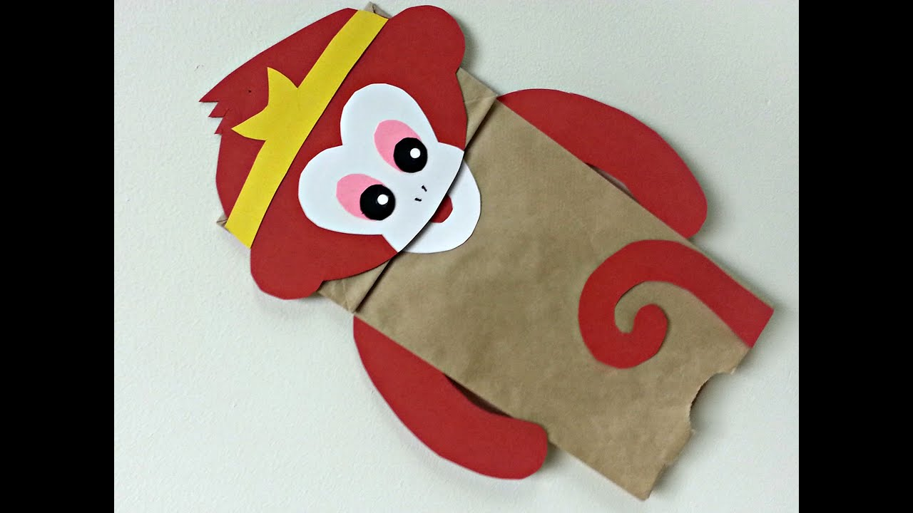 how to make monkey puppet with paper