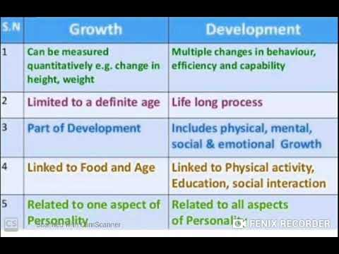 Difference Between Growth And Development Youtube