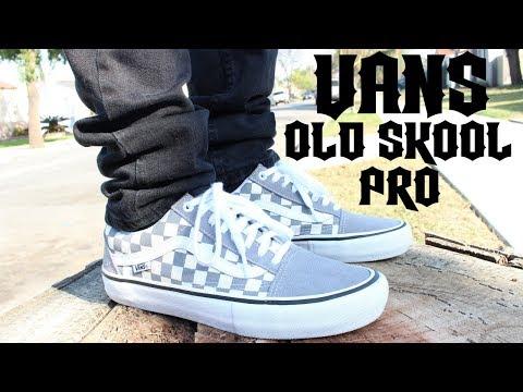 8ffba2fa29e20a Vans Old Skool Pro Grey Checkerboard On Feet