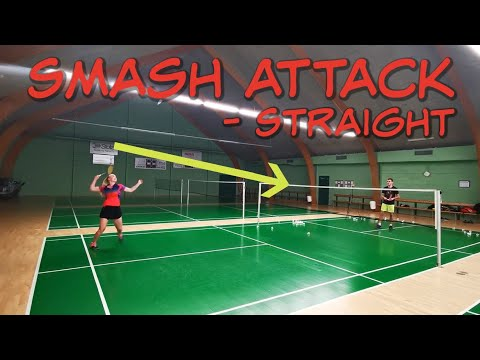 BADMINTON EXERCISE #84 – SMASH ATTACK AND STRAIGHT FORWARD, BUTTERFLY