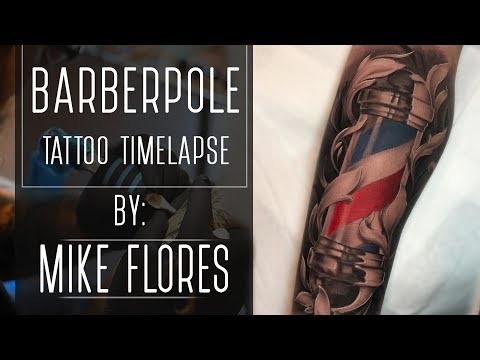 Barber Pole Tattoo Tattoo Time lapse - Mike Flores