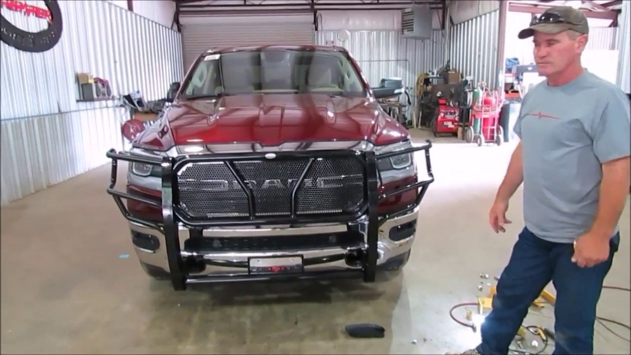 Frontier Grille Guard 2019 Dodge 1500 Install - YouTube