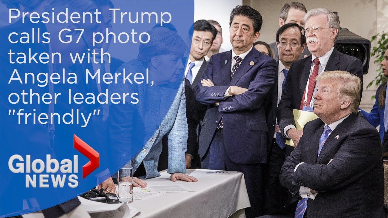 Trump addresses widely shared G7 photo with Angela Merkel, leaders