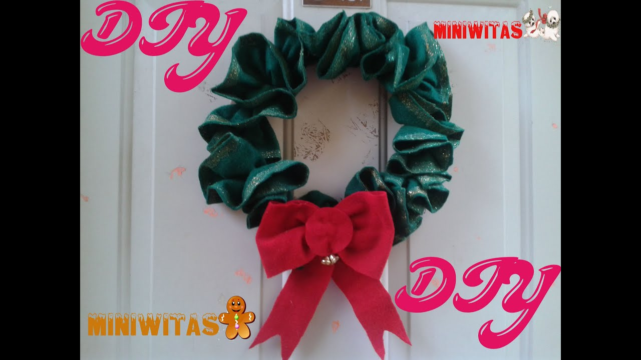 Corona de navidad de adviento hecha de fieltro - Como hacer coronas de navidad ...