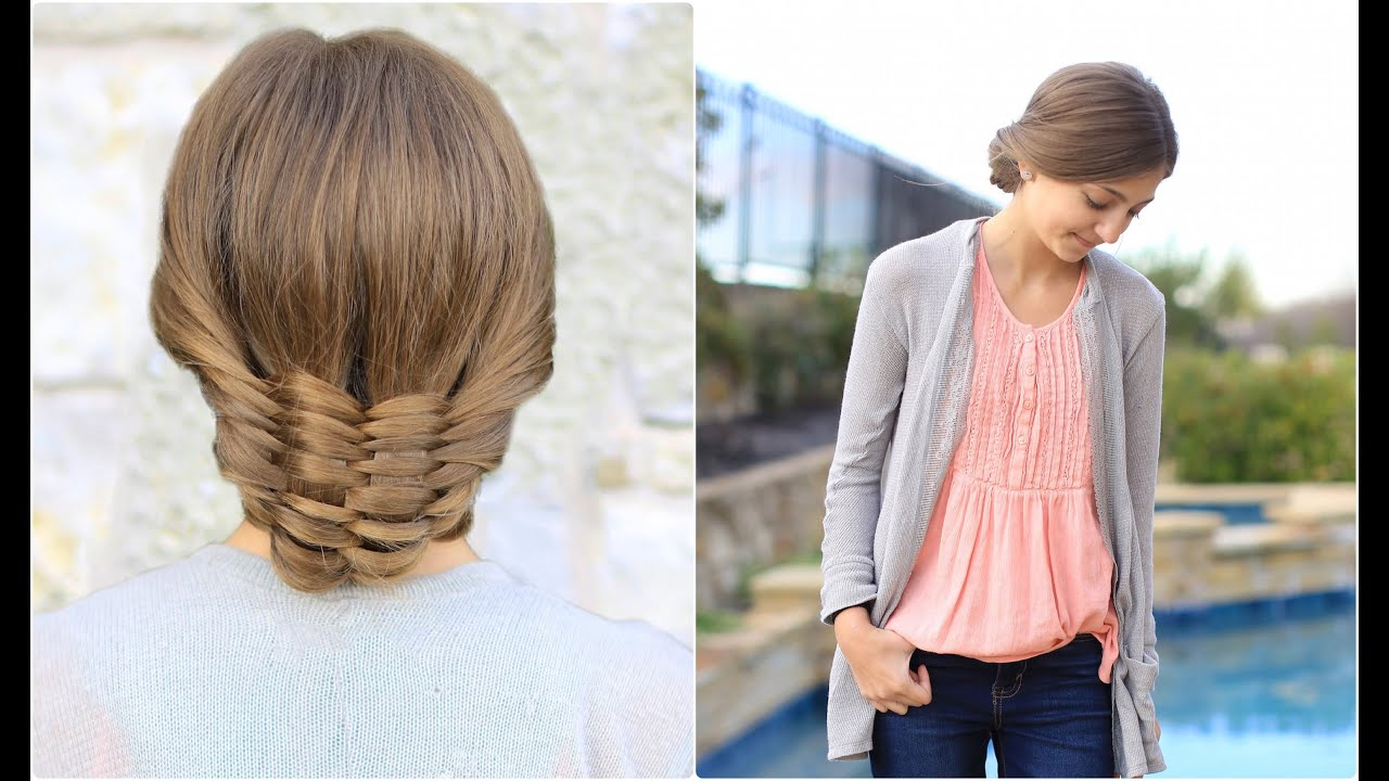 The woven updo cute girls hairstyles youtube urmus