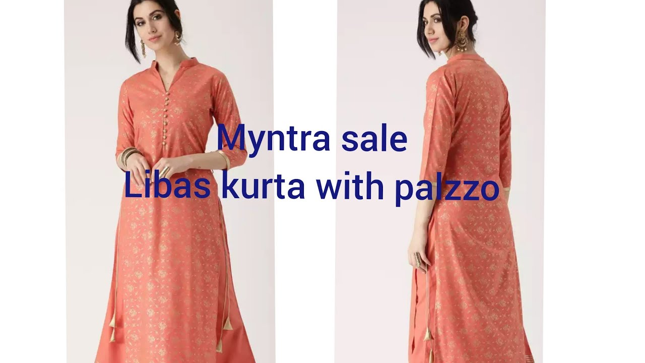 c9ab51f5d7 Libas Women Peach Coloured Printed kurta with Palazzos || Myntra Haul || Online  Shopping
