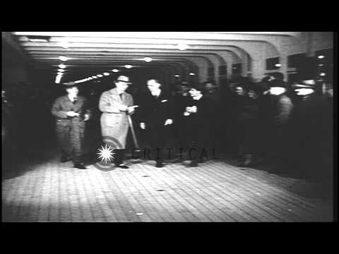 US Ambassador to Britain Joseph P Kennedy arrives on the Queen Mary and talks to ...HD Stock Footage
