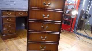 Reproduction Antique Brown Leather Top Mahogany Three Drawer Filing Cabinet