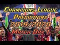 Champions League Match Day 1 Predictions