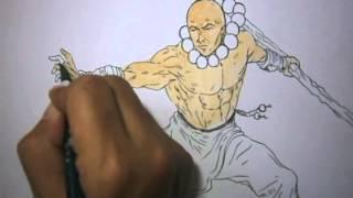 Kung Fu Monk Drawing