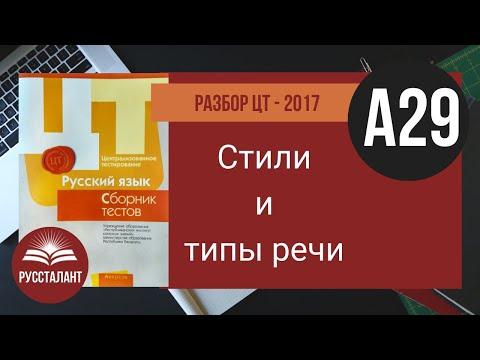 Русский язык. Разбор ЦТ 2017. А29. Стили речи. Типы речи