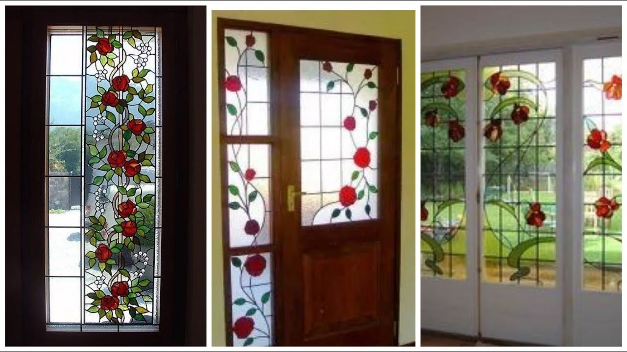 New Beautifull Modern Wooden Glass Painting Windows Door Ideas With Floral Print 2020 Youtube
