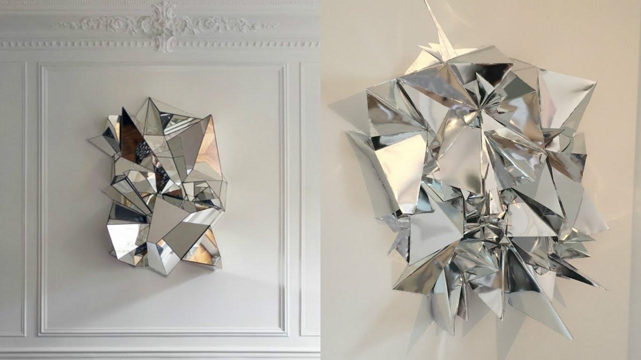 Diy Mirrored Geometric Mosaic Wall Art Youtube