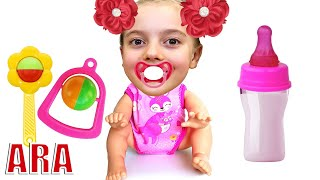 Ulya found a doll and pretends to be a parent   مجموعة من القصص للأطفال #2
