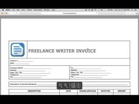 Write a Freelance Writer Invoice | Excel | Word | PDF