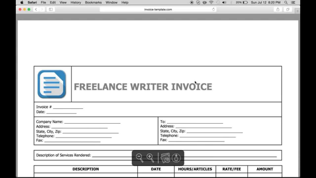 Write A Freelance Writer Invoice | Excel | Word | PDF   YouTube  Sample Freelance Invoice