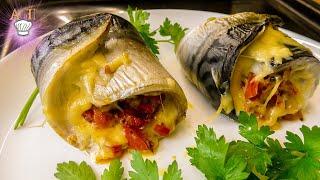 Очень вкусная СКУМБРИЯ с овощами в духовке Рулетики из скумбрии Рецепт запечённой скумбрии