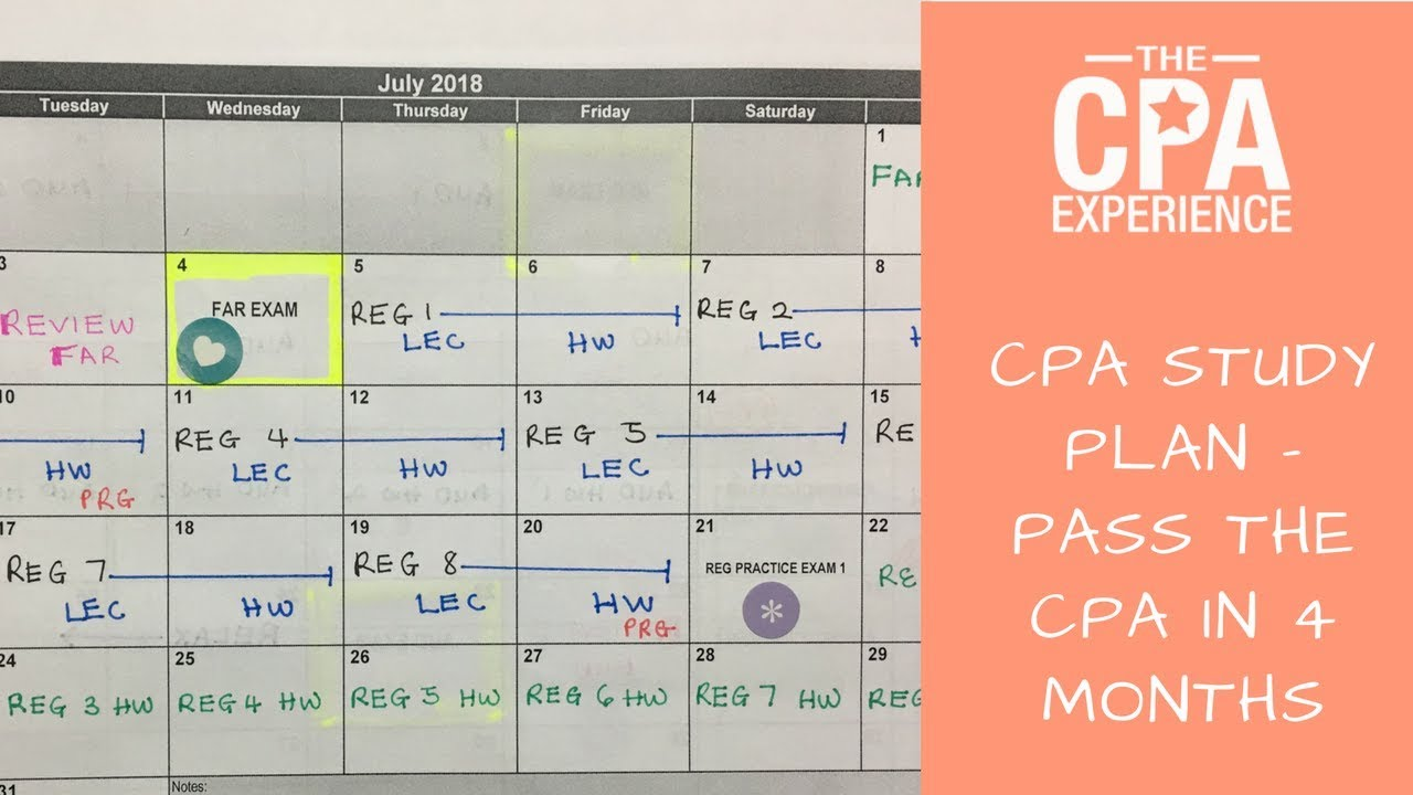 Cpa study plan how to pass the cpa in 4 months youtube for Becker study plan