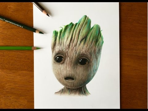 Drawing Baby Groot Guardians Of The Galaxy Vol 2 2017 Youtube