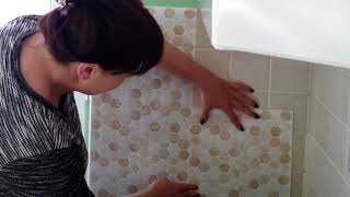 Fix Install Smart Tiles Backsplash Adhesive Tiles Stickers on a Wall with Corner Concave