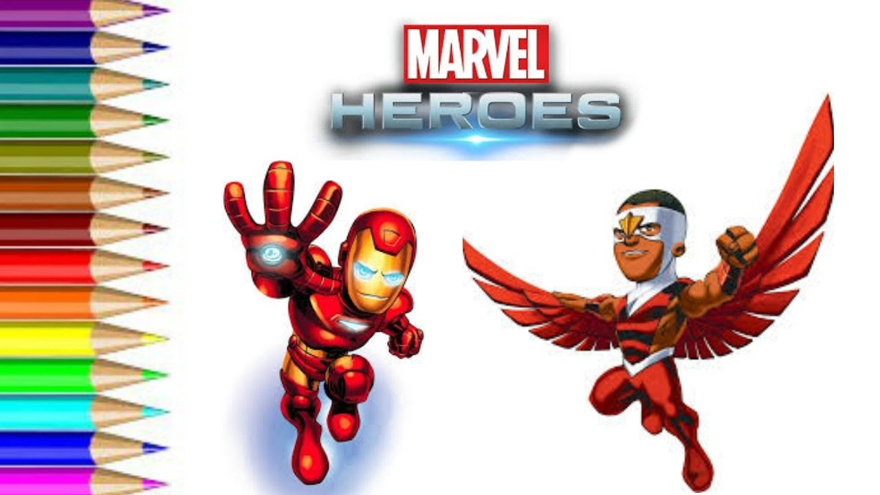how to draw marvel heroes iron man and falcon fun art for kids speed drawing and coloring video