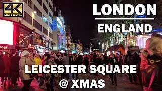Christmas Walk around Leicester Square 🎄, London England [4K]