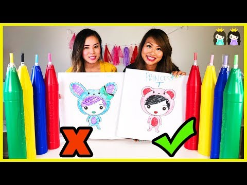 Giant 3 Marker Challenge with Princess ToysReview | Coloring for Kids