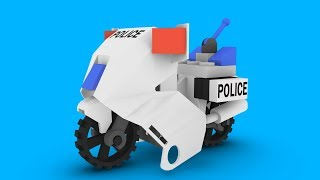 LEGO Police Motorcycle Toys 3D Animation For Children and Kids | Happy Car Kids