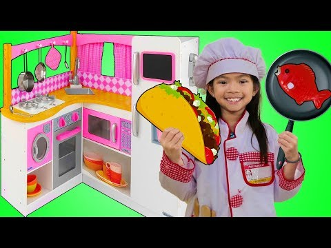 Emma Pretend Play w/ Cute Pink Kitchen Restaurant Toy Cooking Food Kids Playset