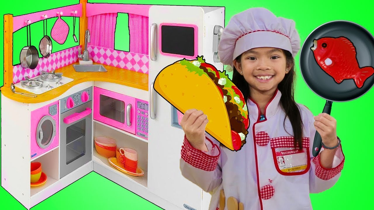 Emma Pretend Play W Cute Pink Kitchen Restaurant Toy Cooking Food Kids Playset